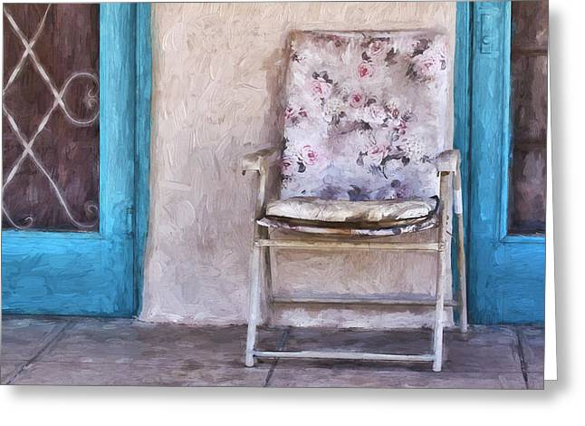 Tucson Front Porch Painterly Effect Greeting Card by Carol Leigh