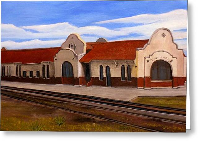 Tucumcari Train Depot Greeting Card by Sheri Keith