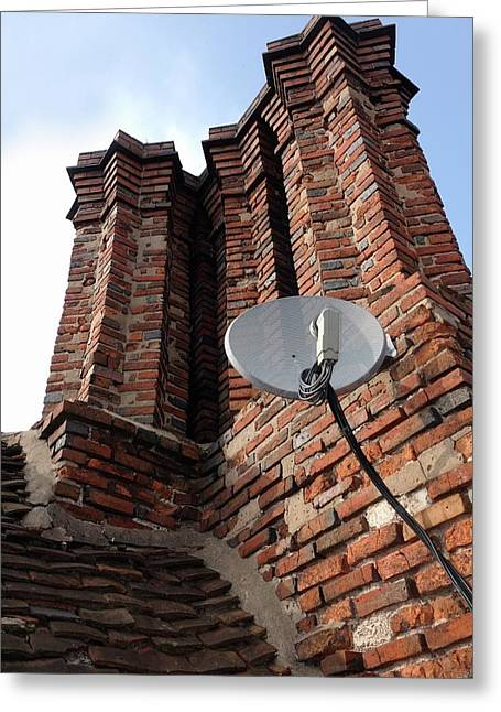 Tudor Chimneys With Satellite Dish Greeting Card by Cordelia Molloy