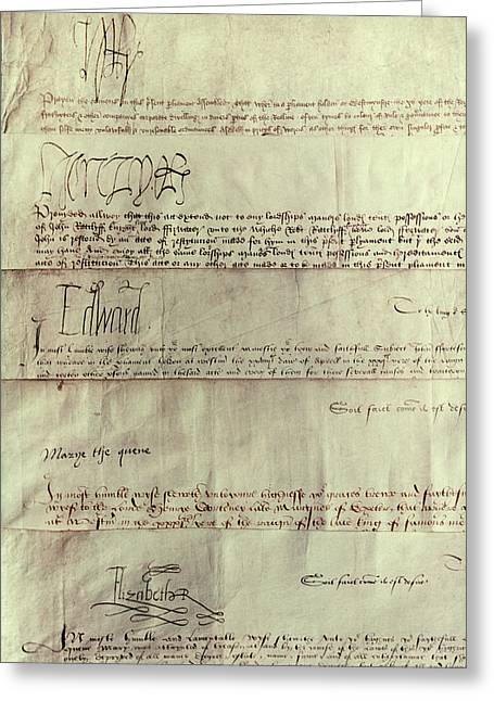 Tudor Monarchs Greeting Card by Granger