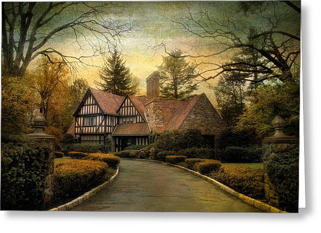Tudor Road Greeting Card by Jessica Jenney