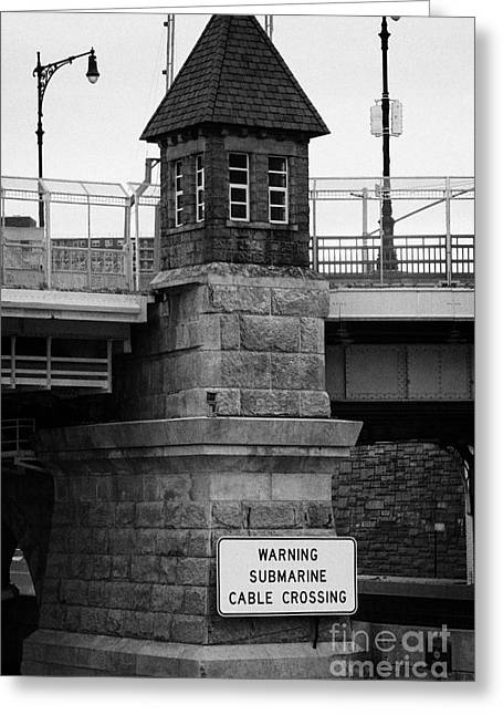 tudor style abutments on the Macombs Dam Bridge over the Harlem River new york  Greeting Card