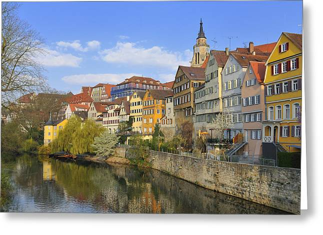 Tuebingen Neckarfront With Beautiful Old Houses Greeting Card