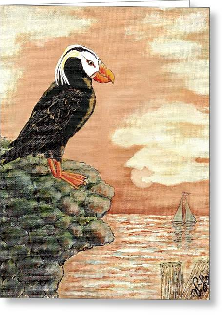 Greeting Card featuring the painting Tufted Puffin At Dusk by VLee Watson