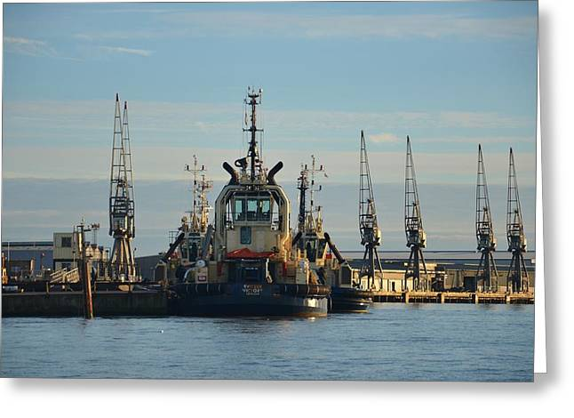 Tug Boat And Cranes Greeting Card by Malcolm Snook