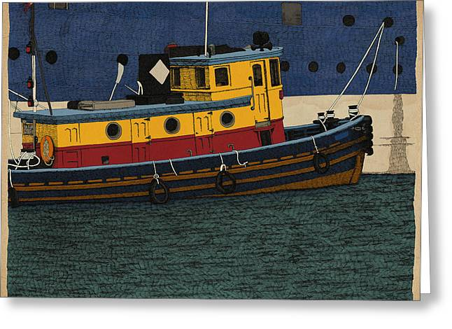 Greeting Card featuring the drawing Tug by Meg Shearer