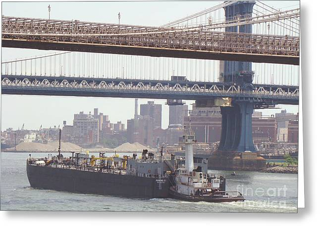 Tug Pushing Tanker - East River New York Greeting Card by Anthony Morretta
