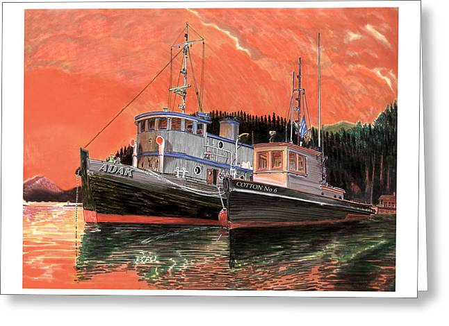 Tugboat Adak  Red Sky Warning Greeting Card