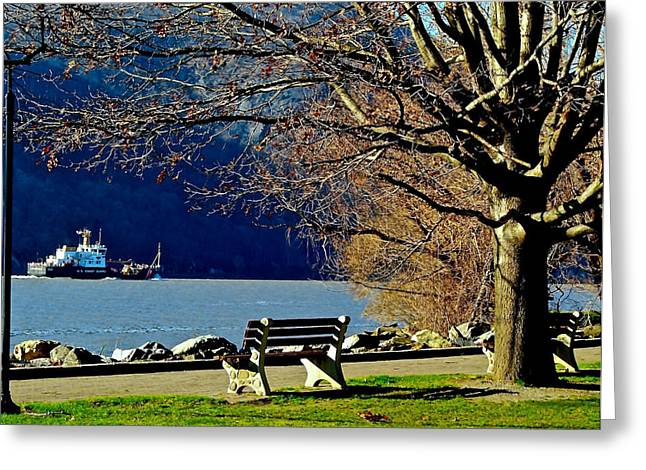 Tugboat On The Hudson River Greeting Card