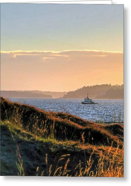 Tugboat Twilight - Chambers Bay Golf Course Greeting Card
