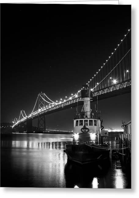 Tugboat Under The Bay Bridge Greeting Card
