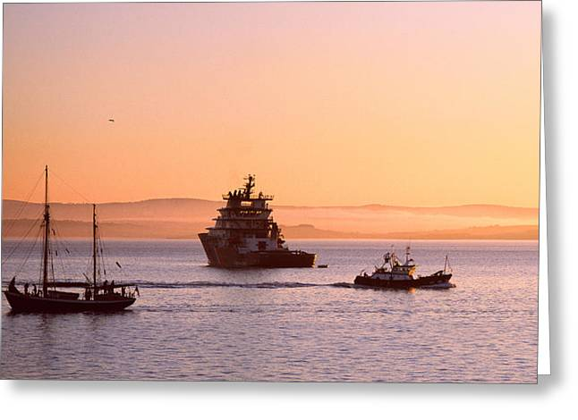 Tugboat With A Trawler And A Tall Ship Greeting Card by Panoramic Images