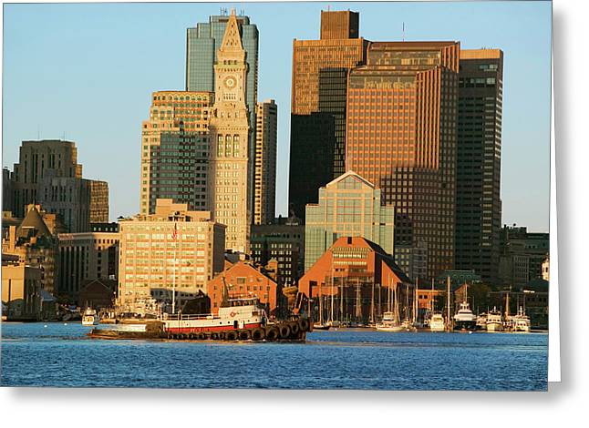 Tugboat With Boston Harbor Greeting Card