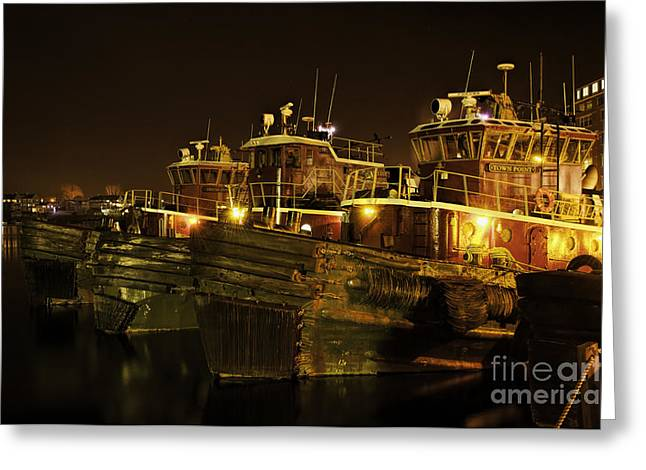 Tugboats 1st Night Dec 2013 Greeting Card