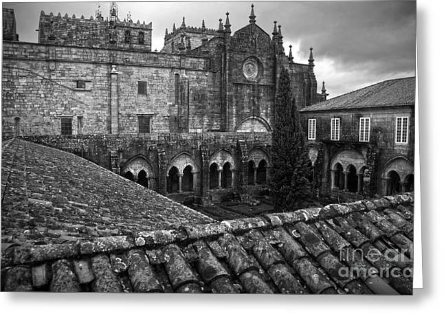 Tui Cathedral Cloister Bw Greeting Card by RicardMN Photography