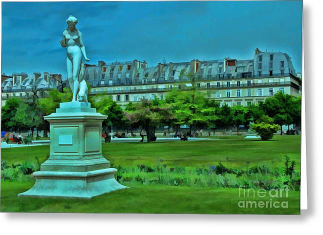 Tuileries Gardens Greeting Card by Allen Beatty