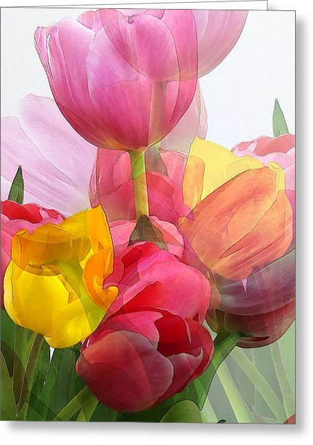 Vertical Tulips 2 Greeting Card by Rene Sheret