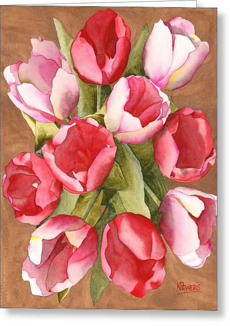 Greeting Card featuring the painting Tulip Bouquet by Ken Powers