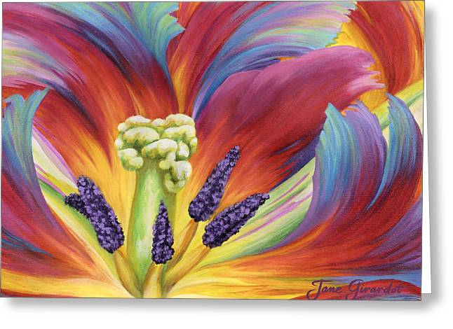 Greeting Card featuring the painting Tulip Color Study by Jane Girardot
