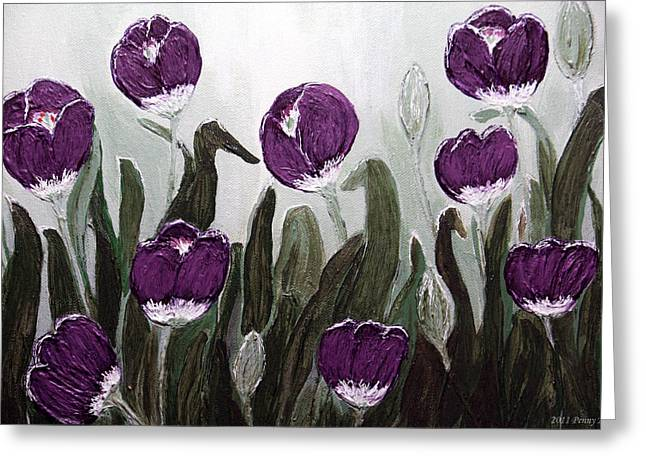 Tulip Festival Art Print Purple Tulips From Original Abstract By Penny Hunt Greeting Card