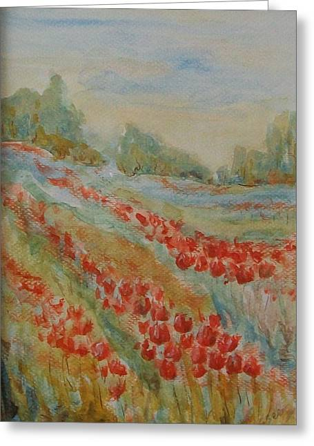 Greeting Card featuring the painting Tulip Field by Jane  See