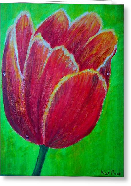 Tulip In Bloom Greeting Card by Kat Poon
