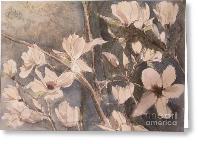 Tulip Magnolias Greeting Card by Nancy Kane Chapman