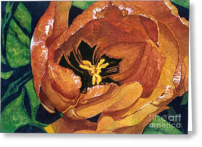 Greeting Card featuring the painting Tulip Swirl by Barbara Jewell