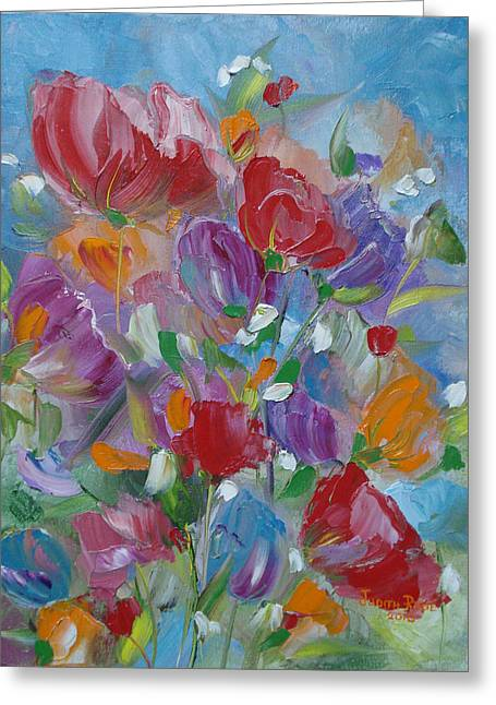 Tulip Symphony Greeting Card by Judith Rhue