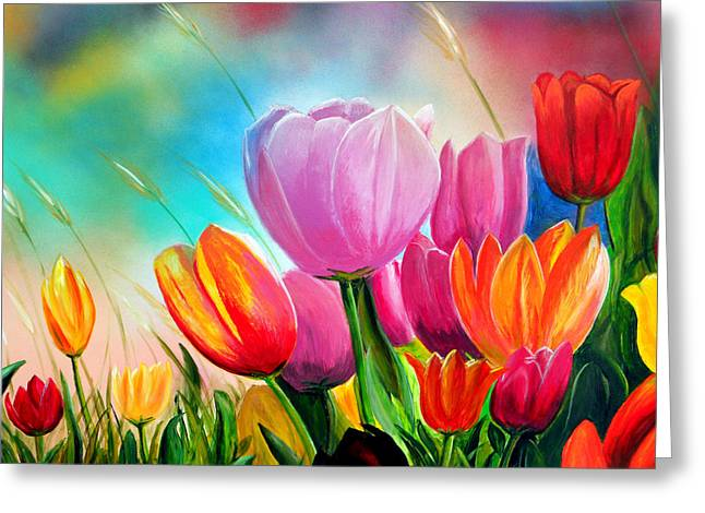 Tulipa Festivity Greeting Card by Angel Ortiz