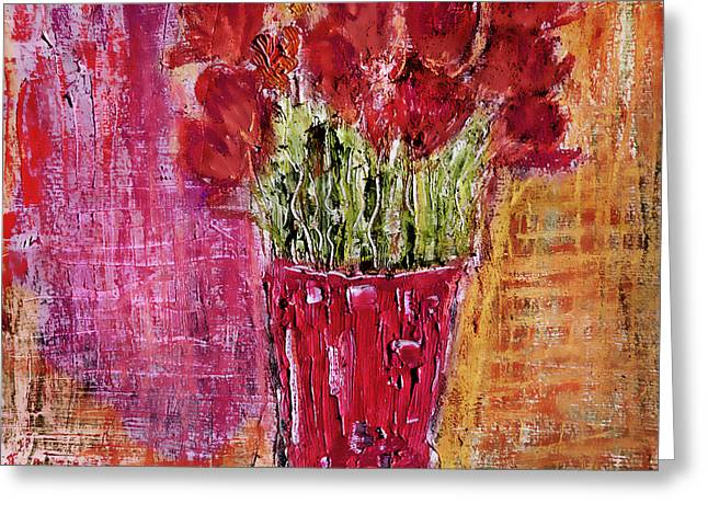 Greeting Card featuring the painting Tulipes Rouges by Linde Townsend