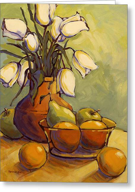 Greeting Card featuring the painting Tulips 1 by Konnie Kim