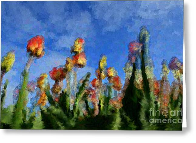 Tulips Abound Greeting Card by Holley Jacobs