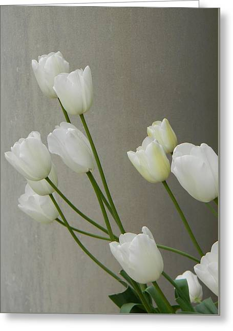Tulips Against Pillar Greeting Card