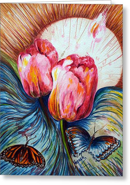 Tulips And Butterflies Greeting Card by Harsh Malik