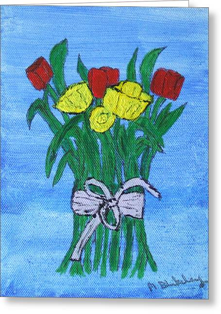 Greeting Card featuring the painting Tulips And Daffodils by Martin Blakeley