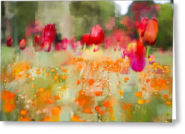 Tulips And Daisies Greeting Card by Linde Townsend