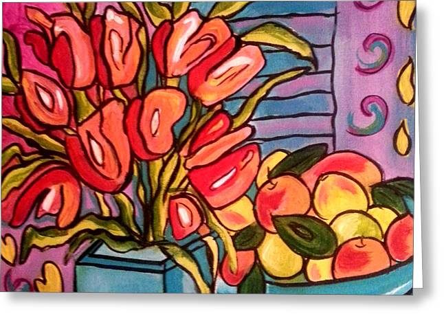 Tulips And Fruit Greeting Card