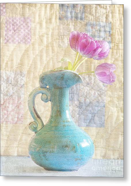 Tulips And Grandmother's Quilt  Greeting Card by Betty LaRue
