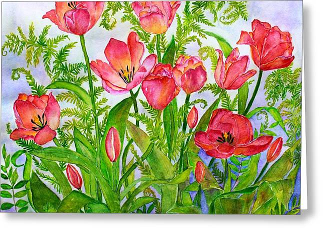 Tulips And Lacy Ferns Greeting Card