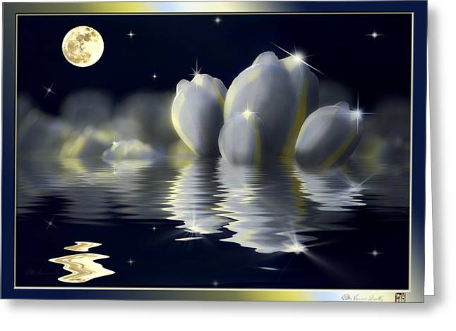 Tulips And Moon Reflection Greeting Card by Peter v Quenter