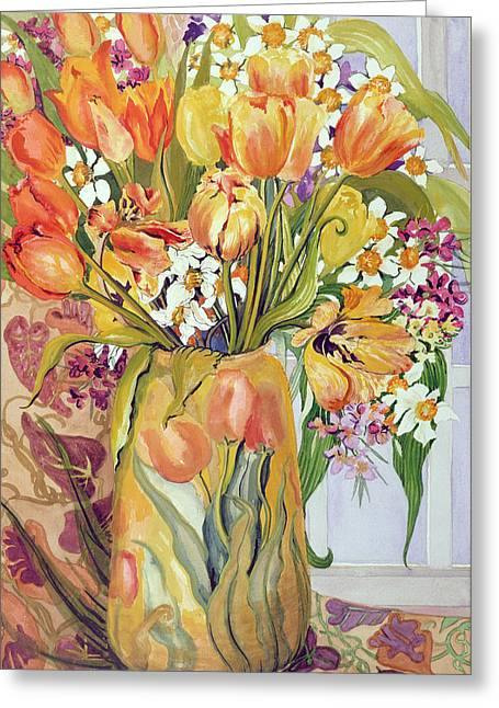 Tulips And Narcissi In An Art Nouveau Vase Greeting Card