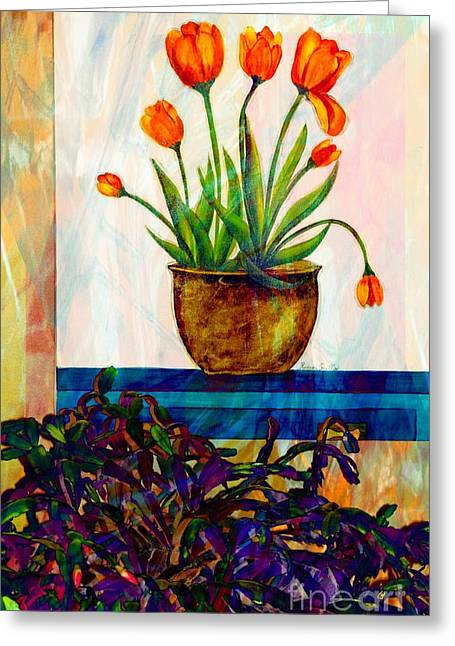 Tulips - Cactus - Still Life  Abstract Greeting Card by Barbara Griffin