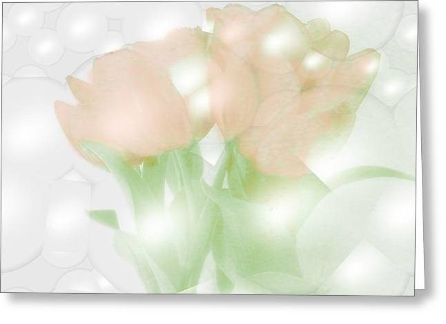 Tulips Coverd With Bubbles Greeting Card