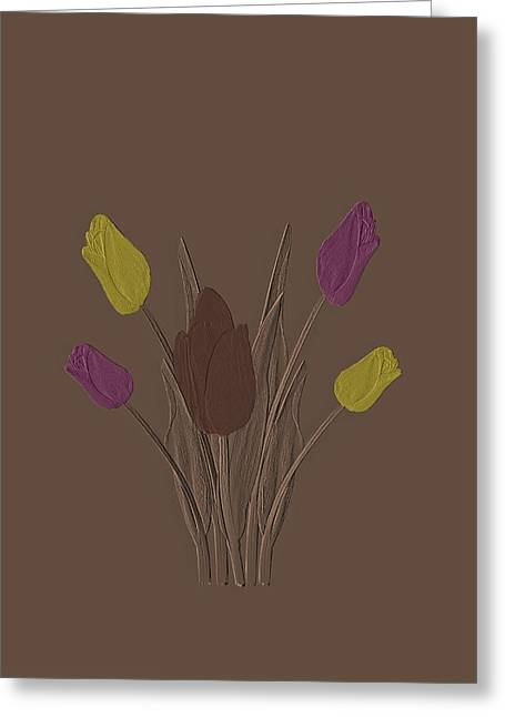 Tulips Design Drawing Embossed  Greeting Card by David Dehner