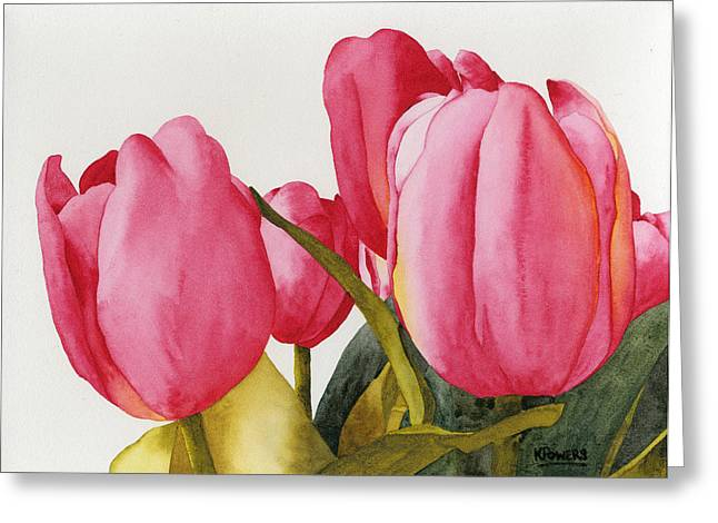 Greeting Card featuring the painting Tulips For You by Ken Powers