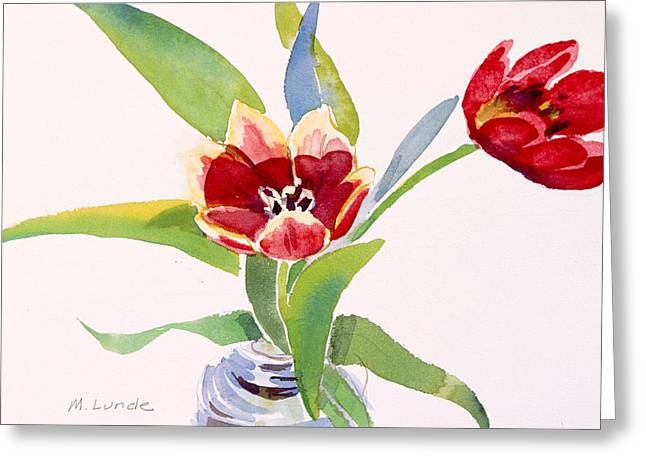 Tulips In A Can Greeting Card by Mark Lunde
