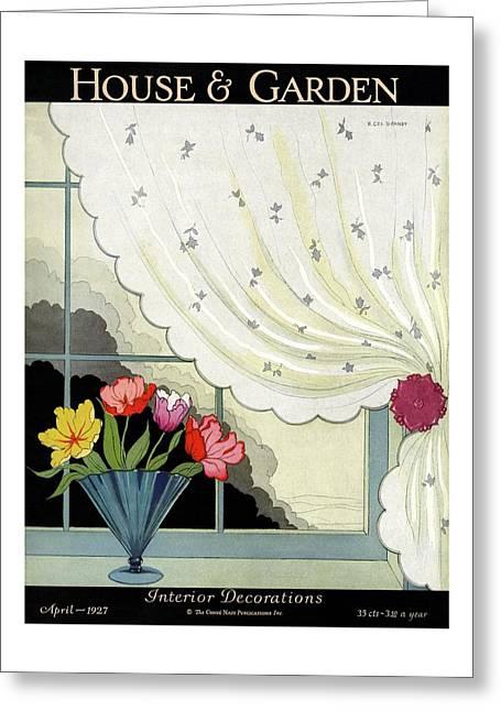 Tulips In A Fan-shaped Vase On A Window Sill Greeting Card