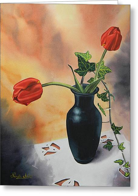 Tulips In Black Vase Greeting Card by Adel Nemeth