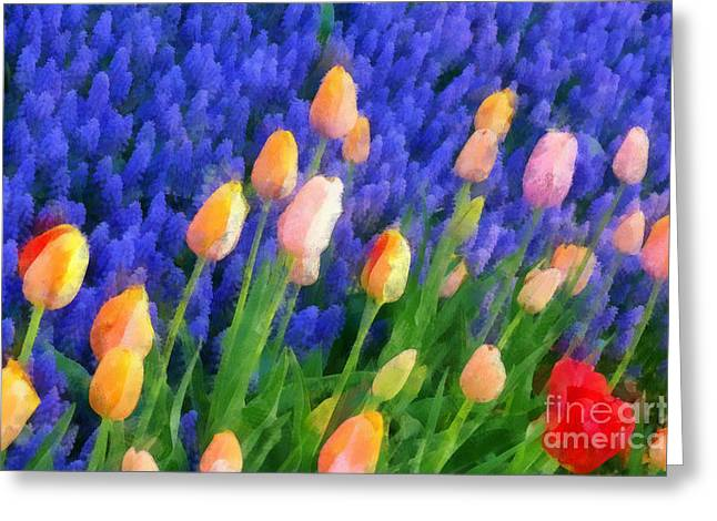 Tulips In The Breeze Greeting Card by Betsy Cotton